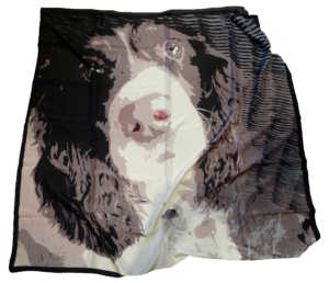 Dog on scarf The Lady Magazine Pet gift Pet Lovers