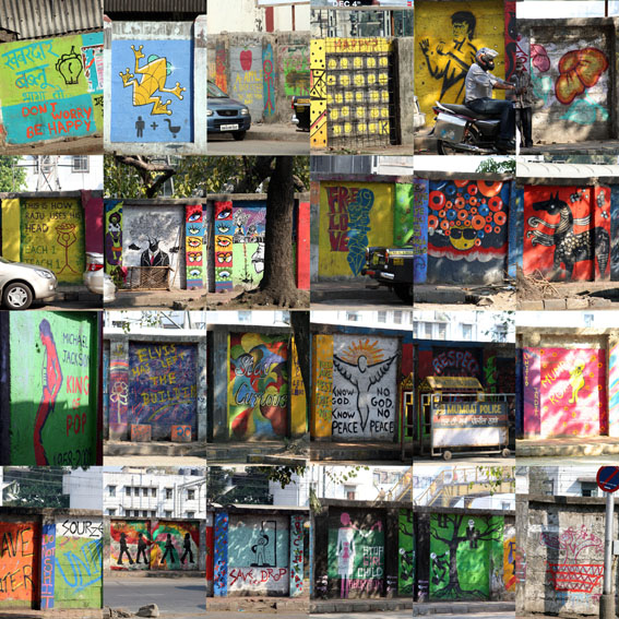 limited edition art by swin, mumbai, india, mumbai montage, graffitti, know god know peace no god no peace, elvis has left the building, don't worry be happy, do not shit, raju uses his head, freedom, stay curious, swin,