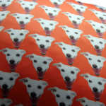 Woof. Massive Dog. Pet Design. Pet cushions, bespoke pet cushion, pets on fabric, pets on cushions, unique pet gifts, pet gift ideas, orange cushions, dog cushions, theo, swin, claireswindale, claire swindale