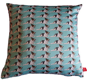 Woof. Massive Dog. Pet Design. Pet cushions, bespoke pet cushion, pets on fabric, pets on cushions, unique pet gifts, pet gift ideas, gravy, gravy the dog, duck egg blue, swin, claireswindale, claire swindale