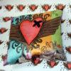 duchess satin cushion with heart design